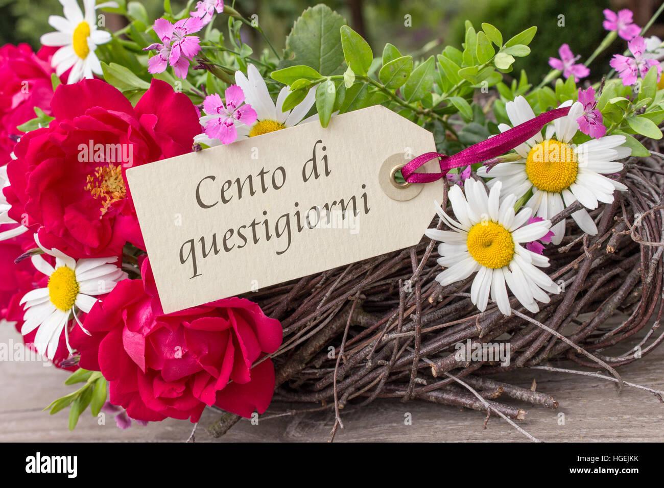 Italienische Geburtstagskarte mit Sommerblumen und der Text