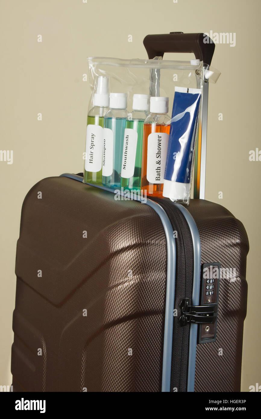 Kosmetischen Flüssigkeiten im Beutel. Flüssige Sicherheitskontrolle am Flughafen Stockbild