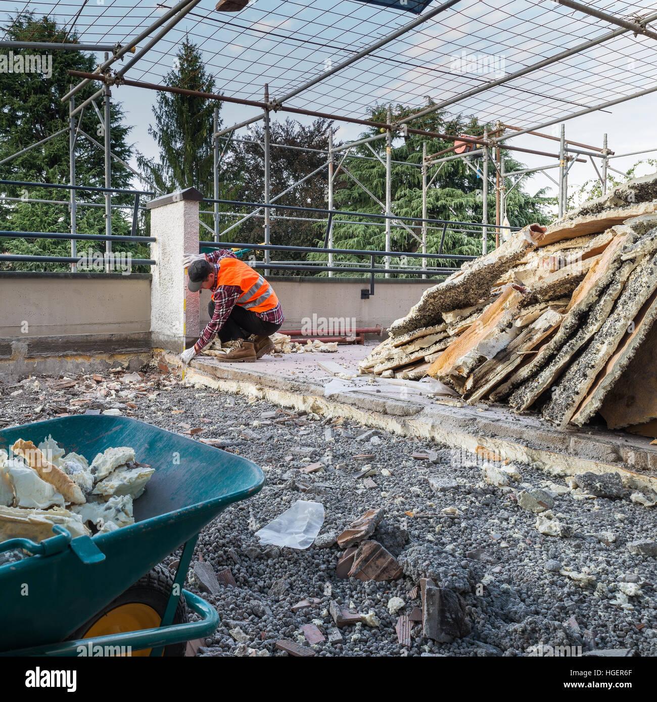 Werke Von Isolierung Und Abdichtung Terrasse Dach Stockfoto Bild