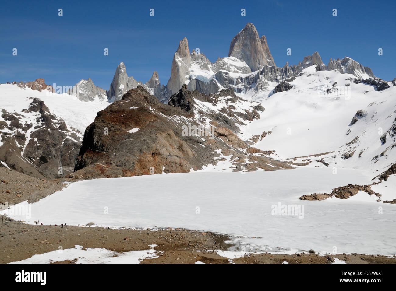 Laguna de Los Tres und Mount Fitz Roy, El Chalten, Patagonien, Argentinien, Südamerika Stockbild