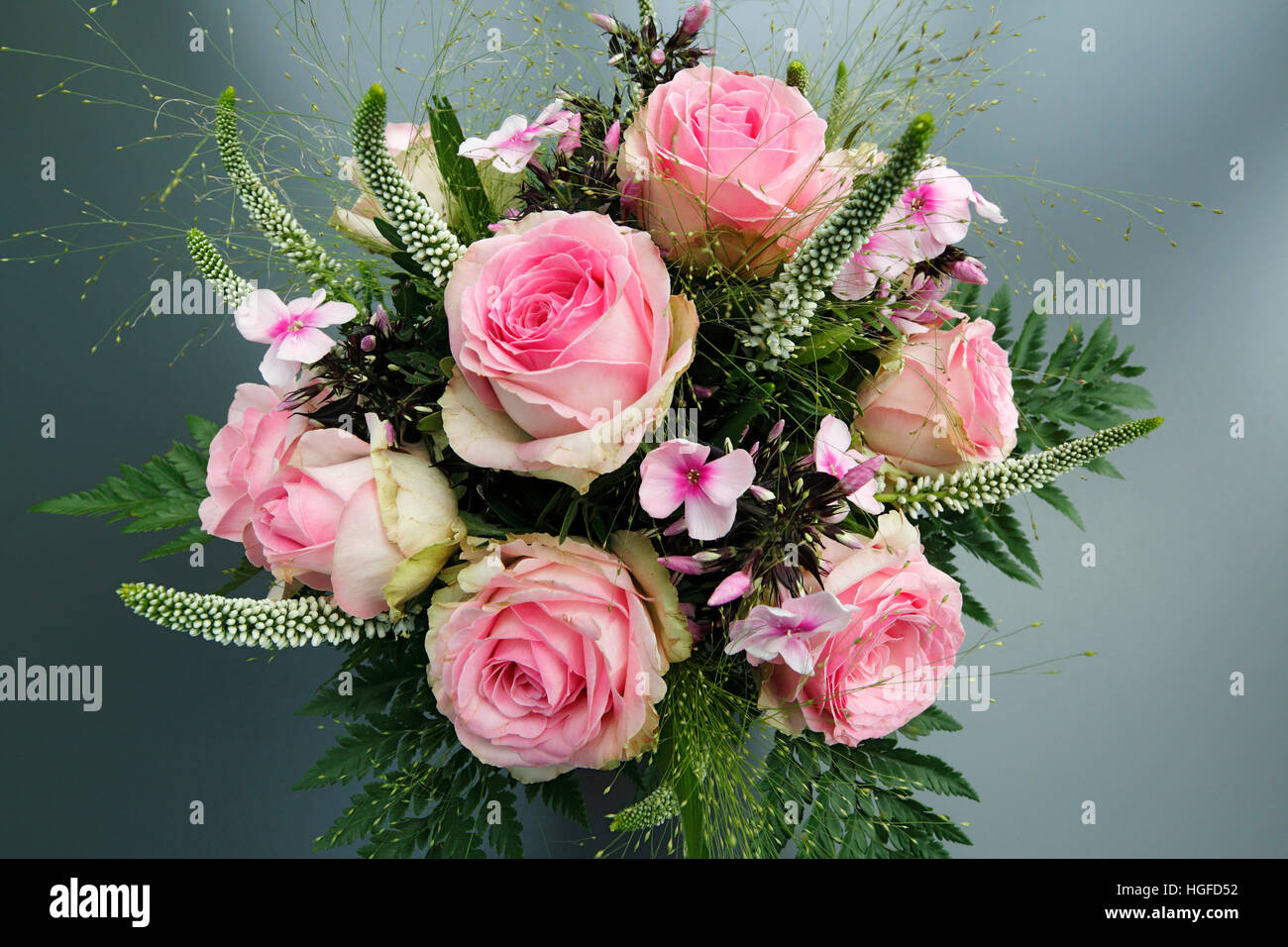 Blumenstrauß Geburtstag Haufen Rosa Rosen Stockfoto Bild