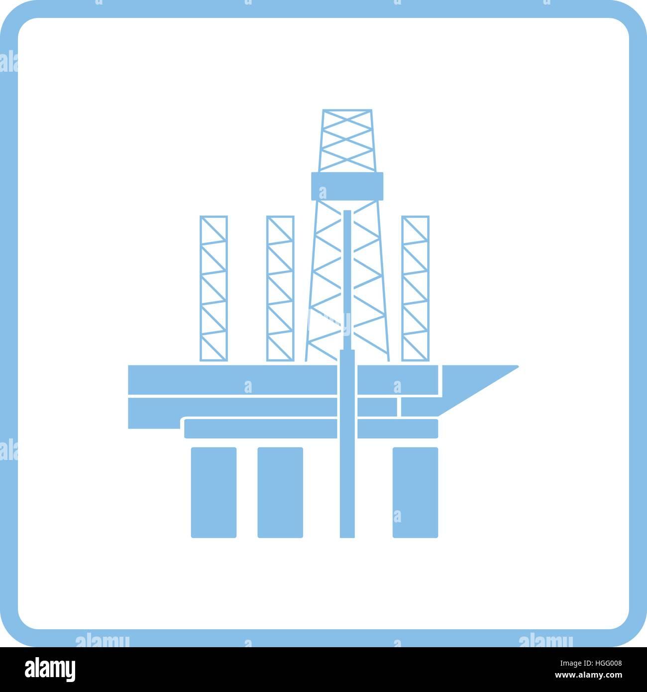 Öl-Meer-Plattform-Symbol. Blauer Rahmen-Design. Vektor-Illustration ...