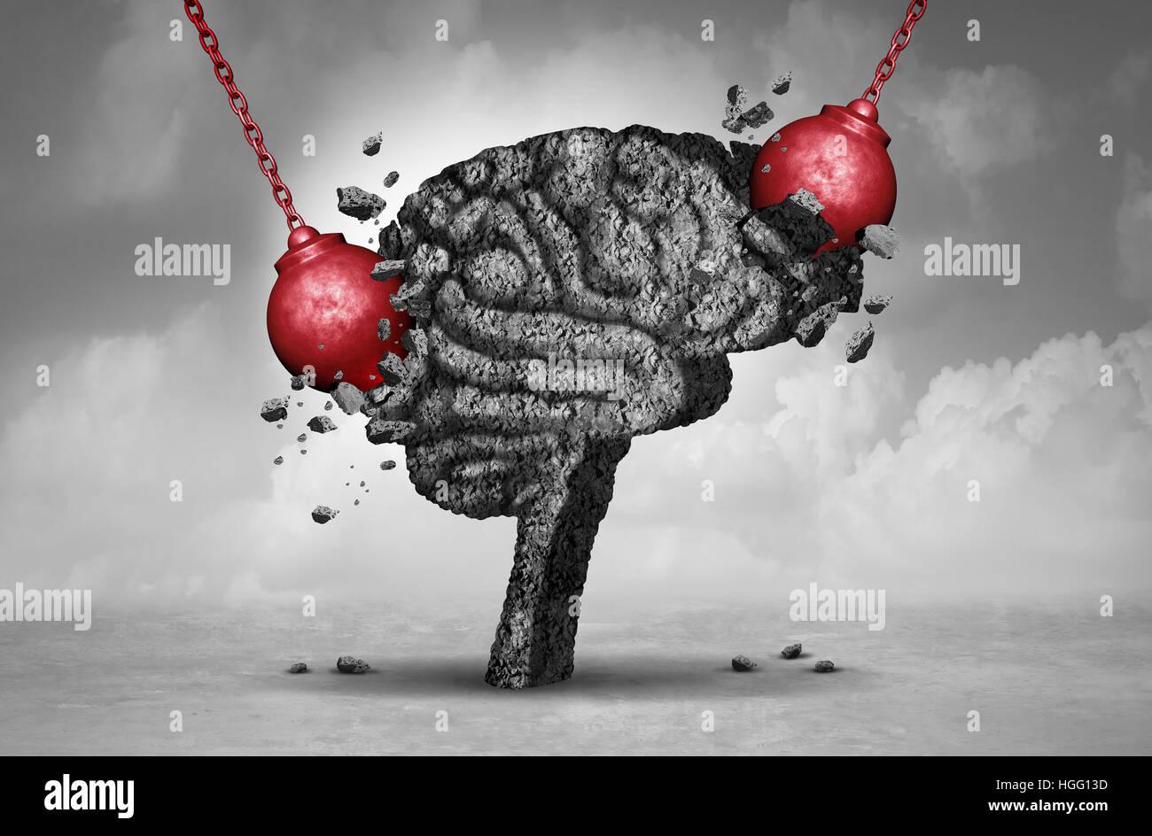 Kopfschmerzen und hämmerte schmerzhaften Migräne-Konzept als ein menschliches Gehirn Kopf aus Zement zerstört Stockbild