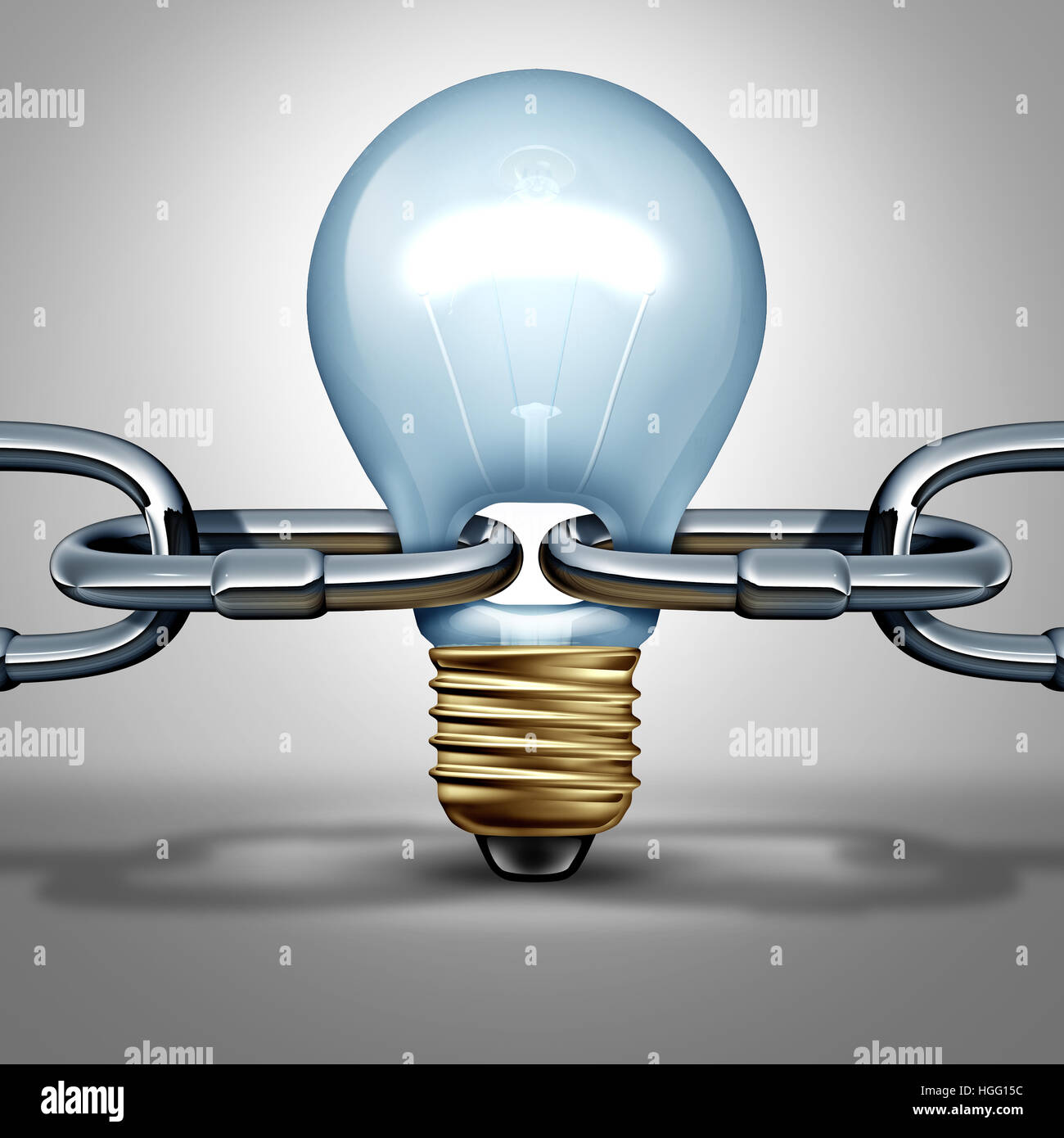 Idee-Chain-Konzept als Innovationskraft und erfinderische Intelligenz Verbindungssymbol oder zuverlässige denken Stockbild