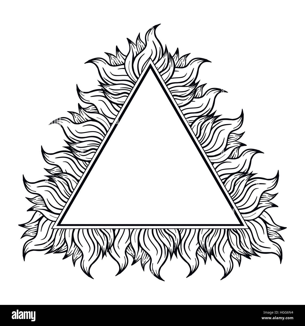 Schwarz weißes Dreieck Rahmen mit Schüben der Flamme. Vektor ...