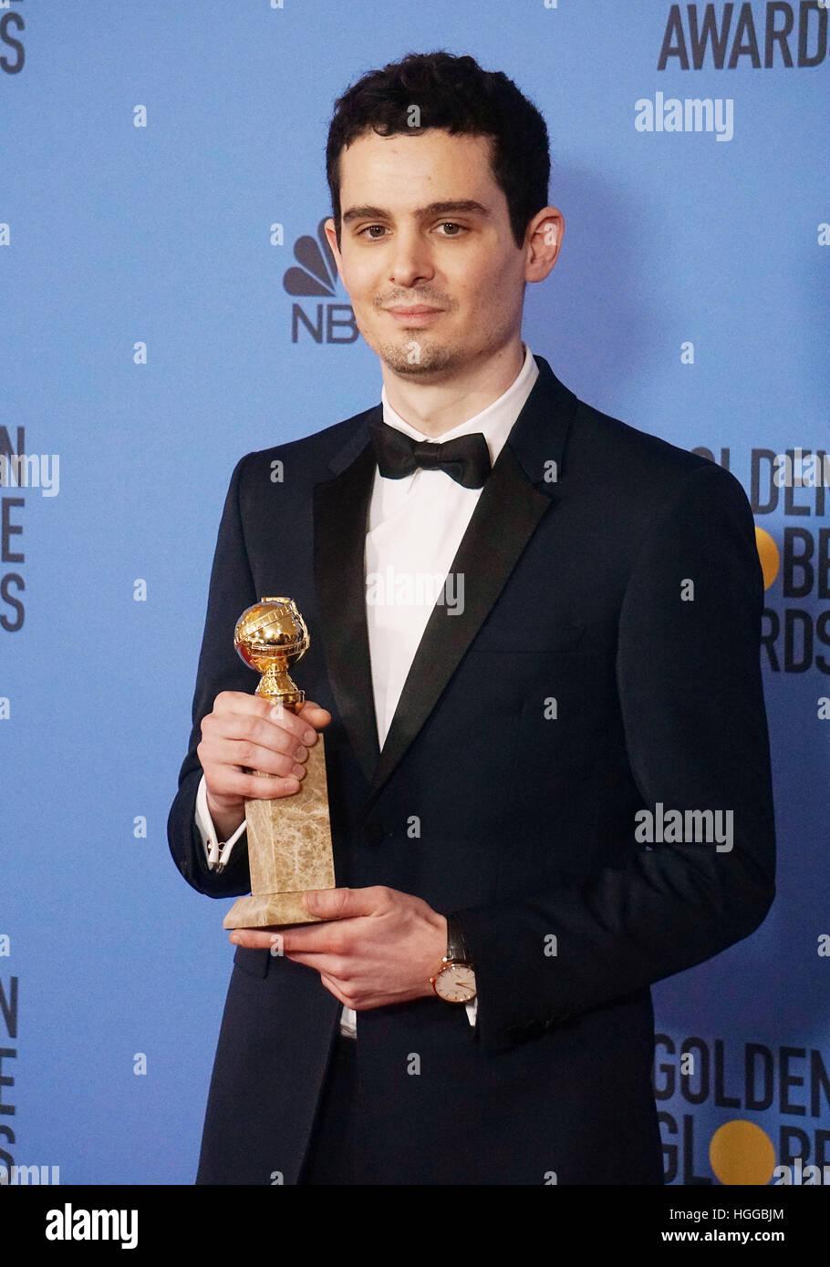 Los Angeles, USA. 8. Januar 2017. Damien Chazelle Press Room in der 74. Annual Golden Globe Awards im Beverly Hilton Stockfoto