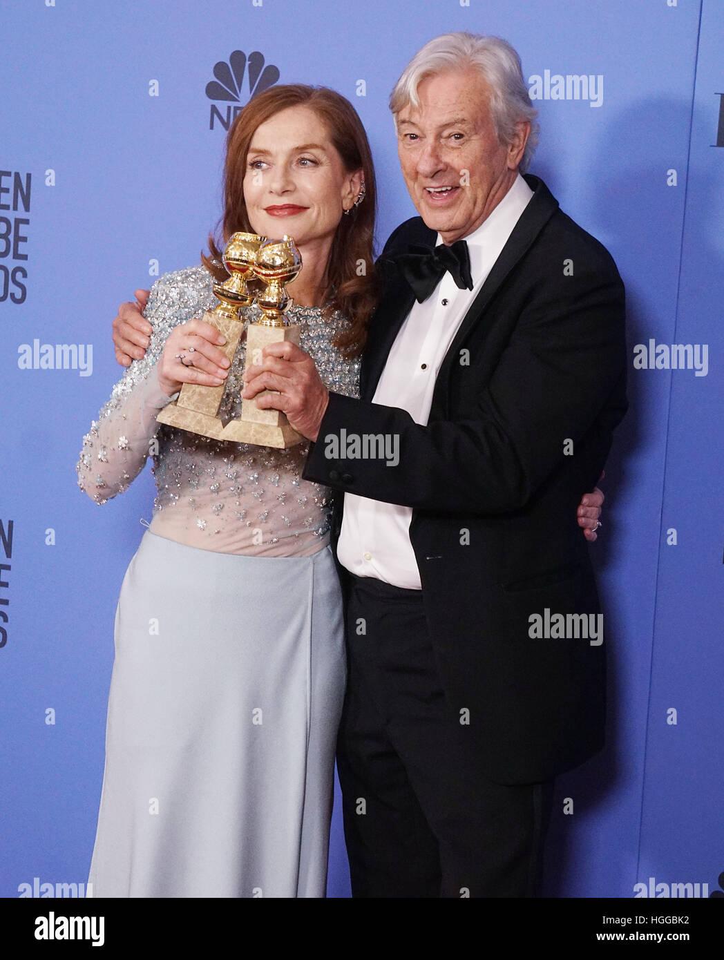 Los Angeles, USA. 8. Januar 2017. Isabelle Huppert, Paul Verhoeven 332 Presseraum an der 74. Annual Golden Globe Stockbild