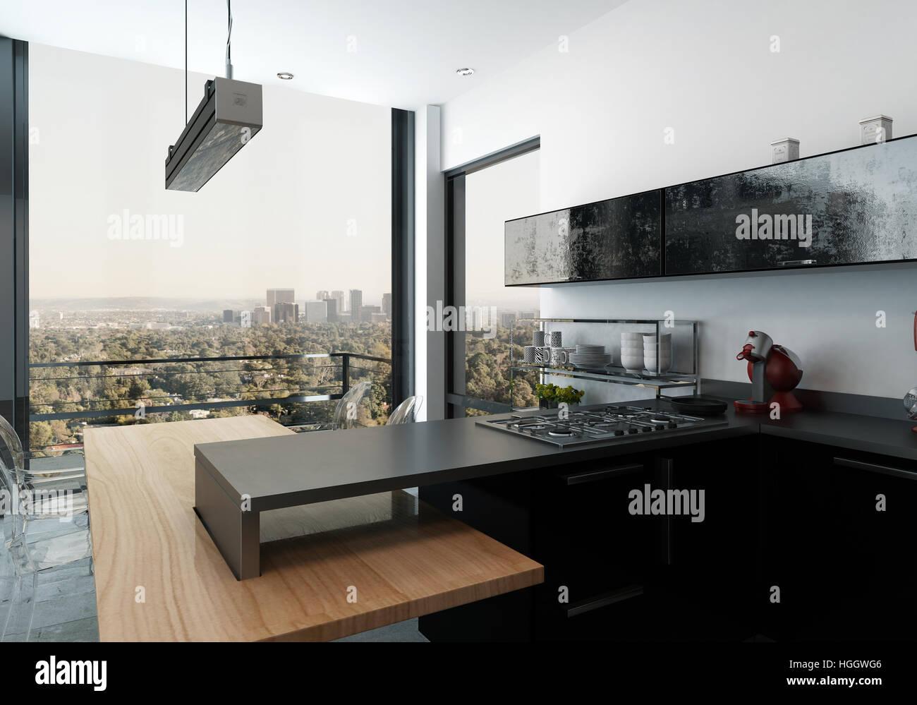 Moderne offene Küche mit Baujahr Herd und schwarzen Schränke mit ...