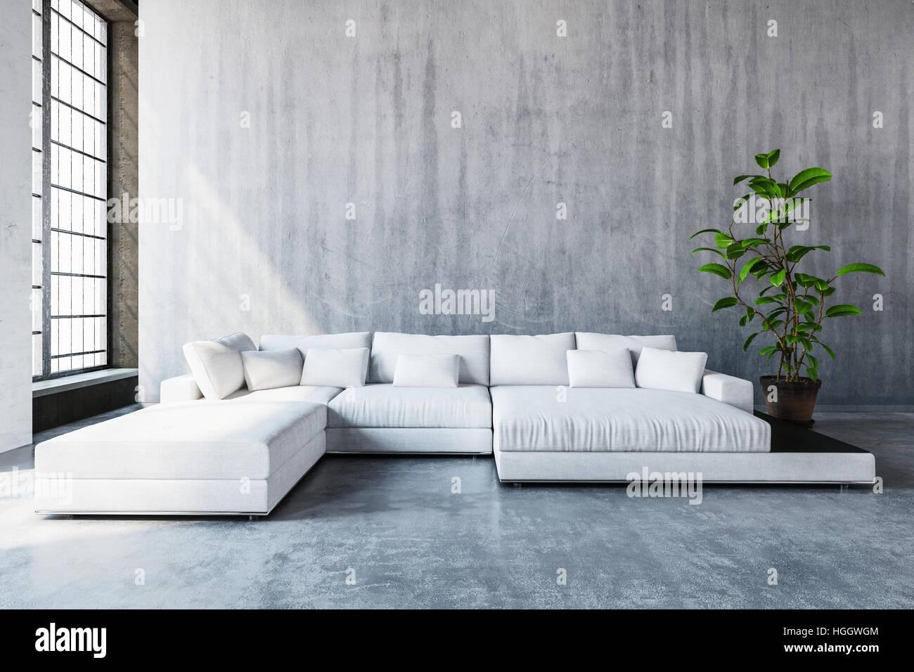 stilvolle moderne wei e modulare tag schlafsofa mit kissen in ein ger umiges wohnzimmer mit. Black Bedroom Furniture Sets. Home Design Ideas