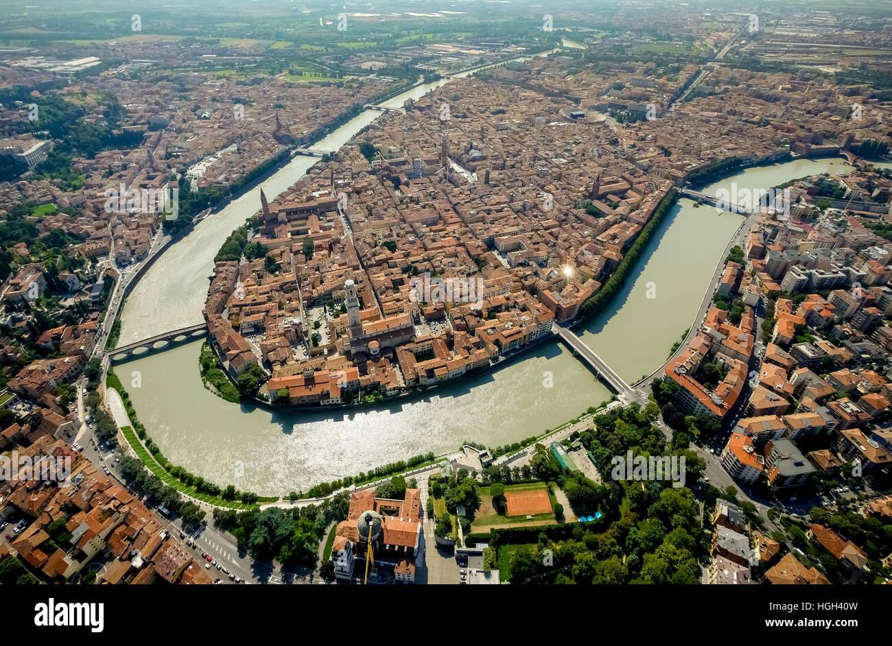 City View, Etsch, Flussschleife, Provinz Verona, Veneto, Italien ...