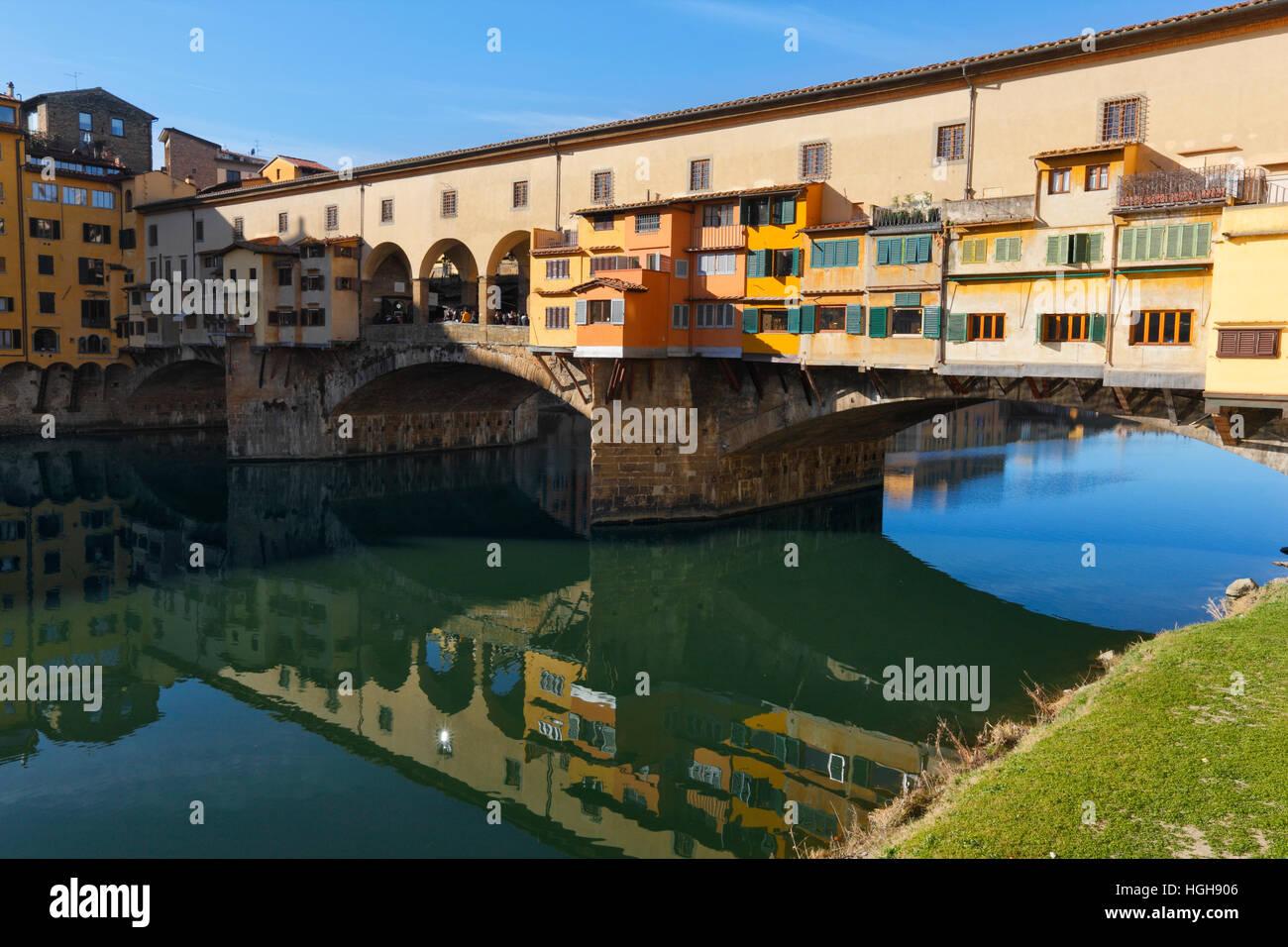 Florenz-Ponte Veccio in der Toskana Stockbild