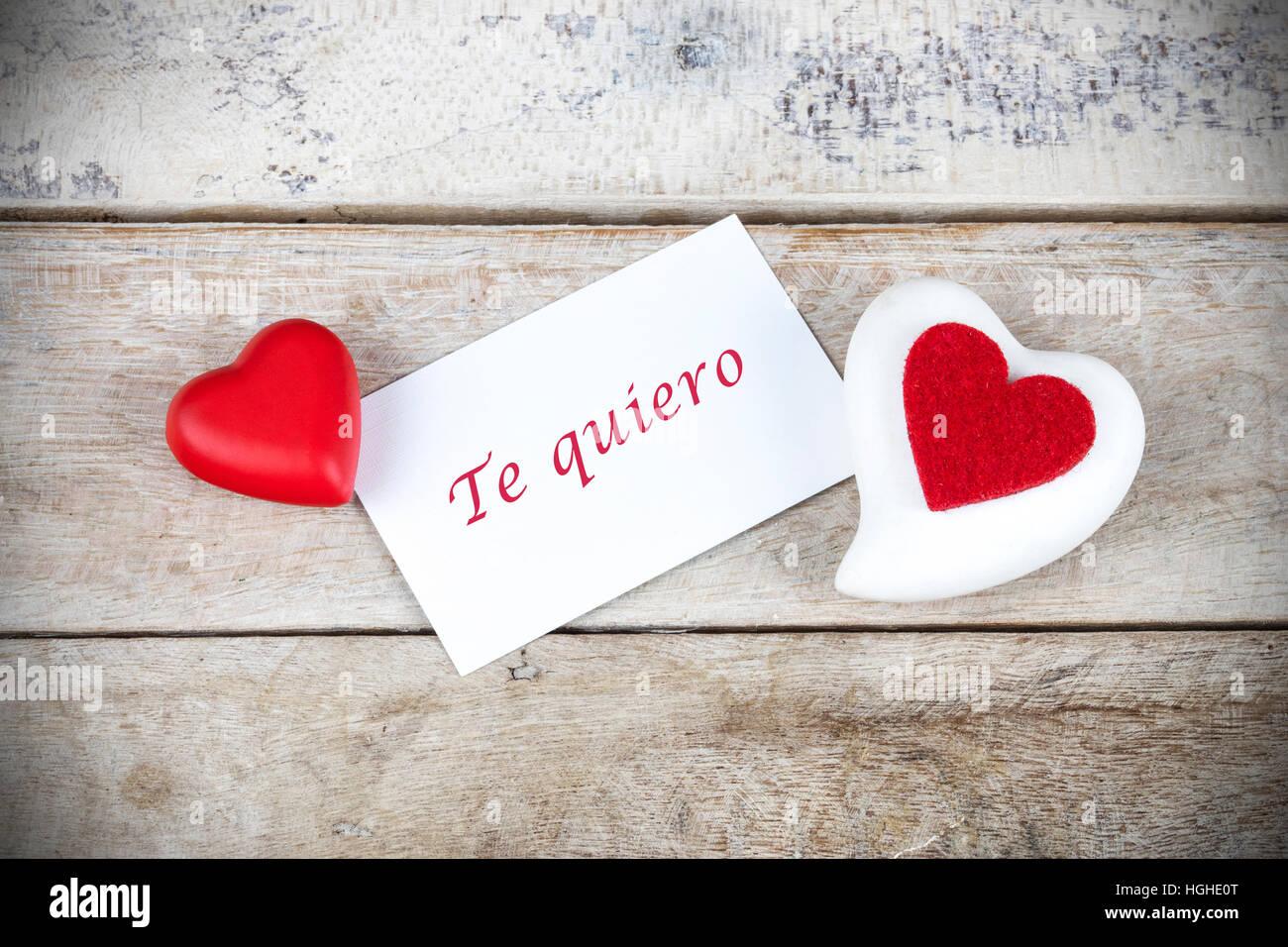 Valentinstag Grusskarte Auf Holztisch Mit Text In Spanisch Te