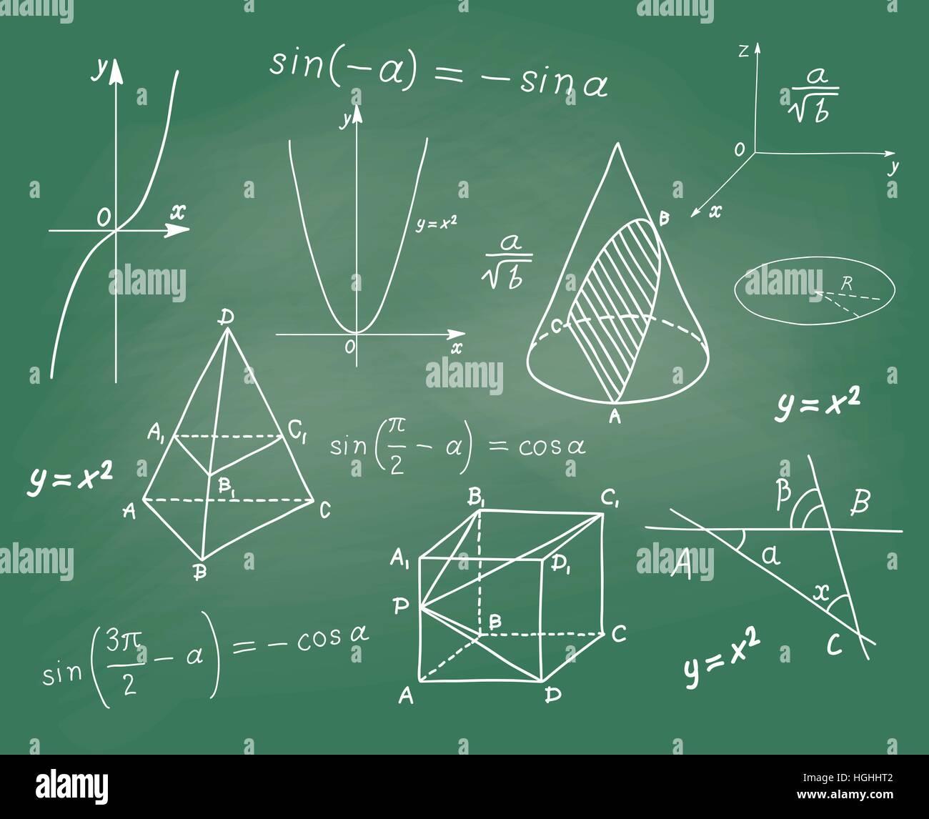 Mathematik - geometrische Formen und Ausdrücke Skizzen auf Schule-Brett Stockbild