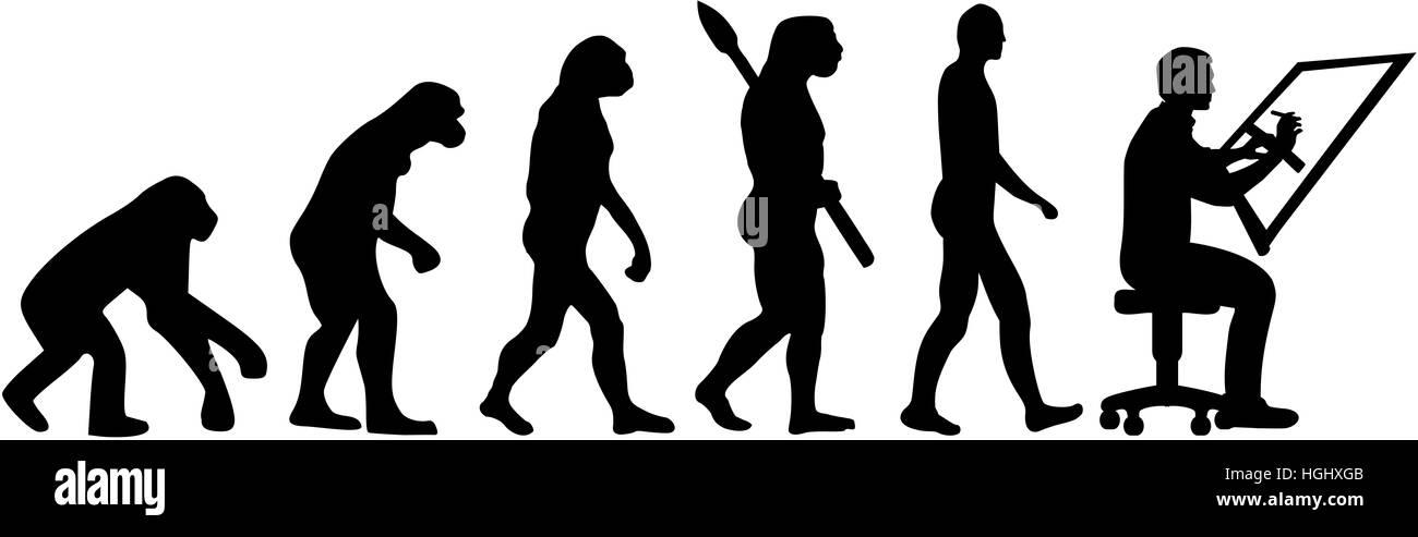 Evolution-Zeichner Stockbild