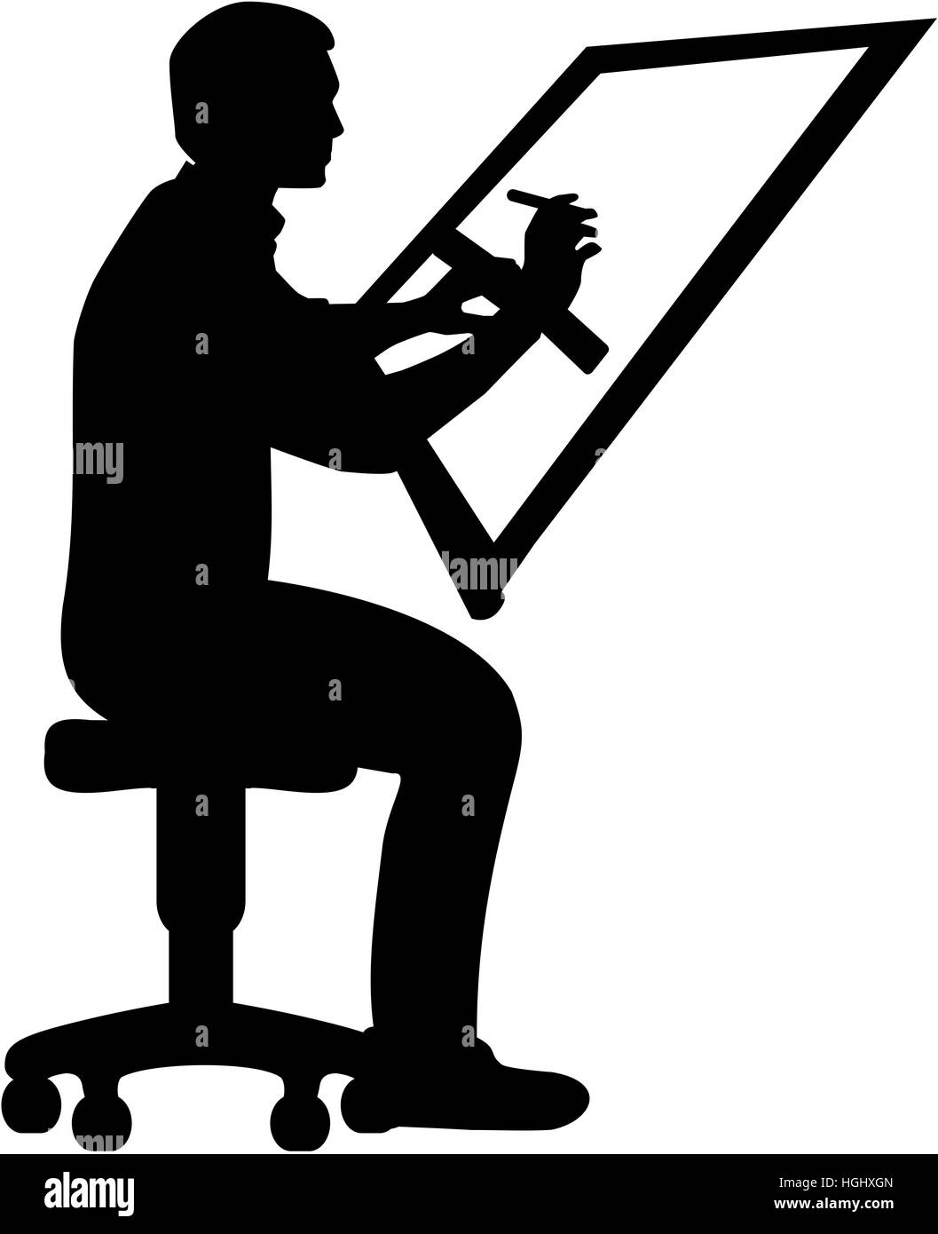 Verfasser. Mann am Zeichenbrett. Stockbild