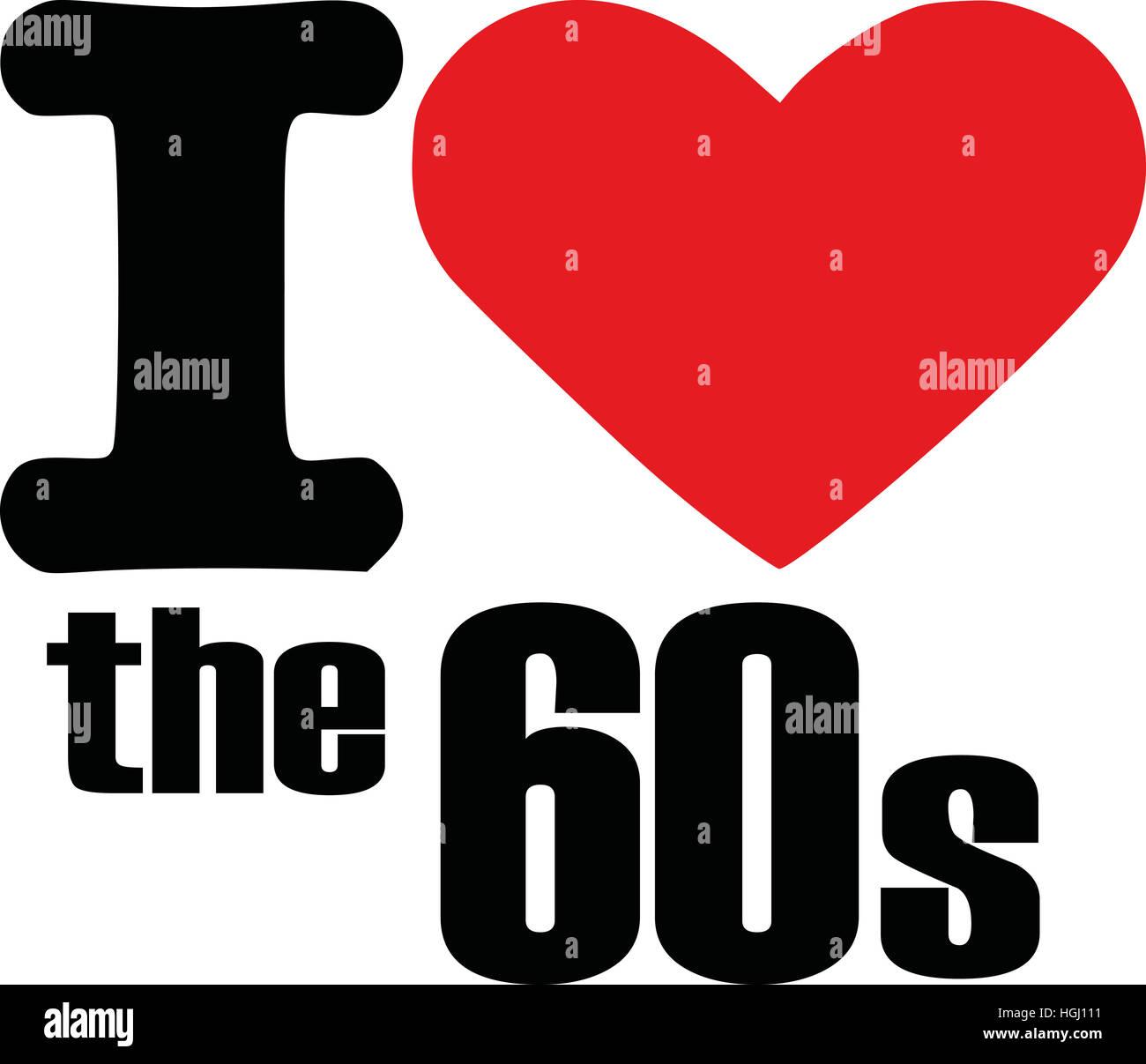 Ich liebe den 60er Jahren Stockbild