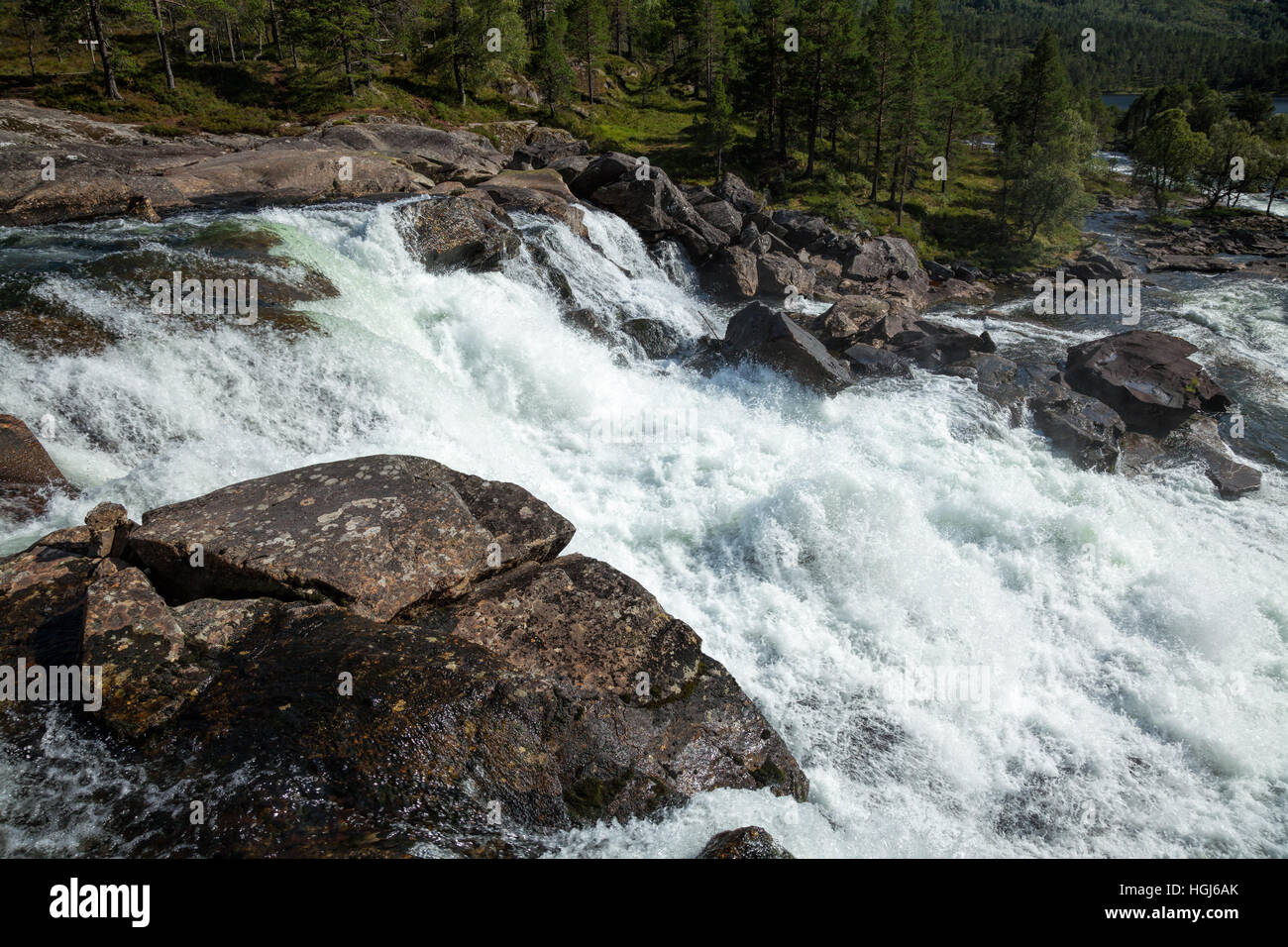 Wildwasser auf Rapid in Norwegen Stockbild