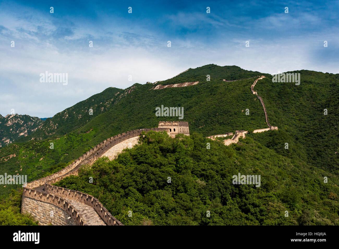 Blick auf die chinesische Mauer bei Mutianyu, China; Konzept für eine Reise nach China Stockbild