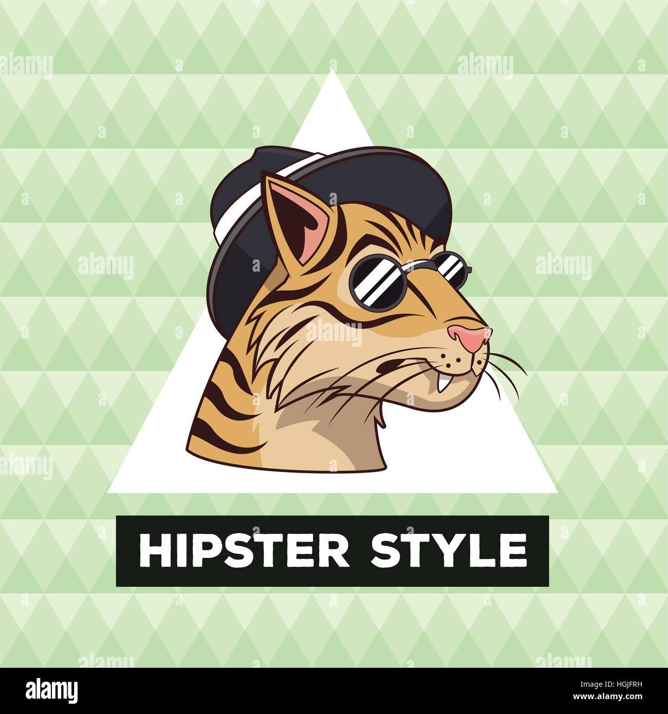 Porträt Tiger Hipster Style grün geometrischen Hintergrund Stockbild