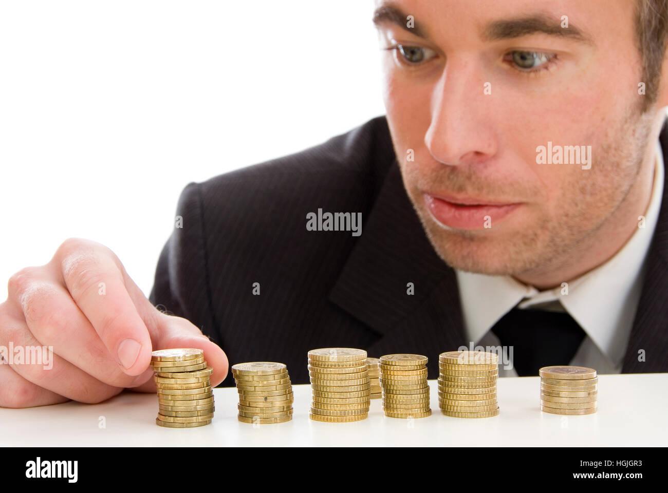 Geschäftsmann Mit Euro Münzen Stockfoto Bild 130715399 Alamy