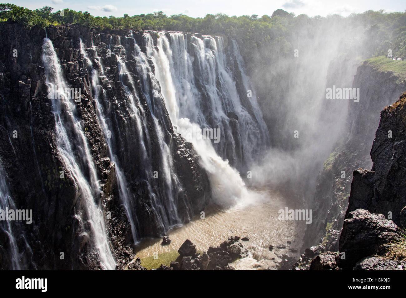 Victoria Falls, Sambia und Simbabwe Grenze Stockfoto