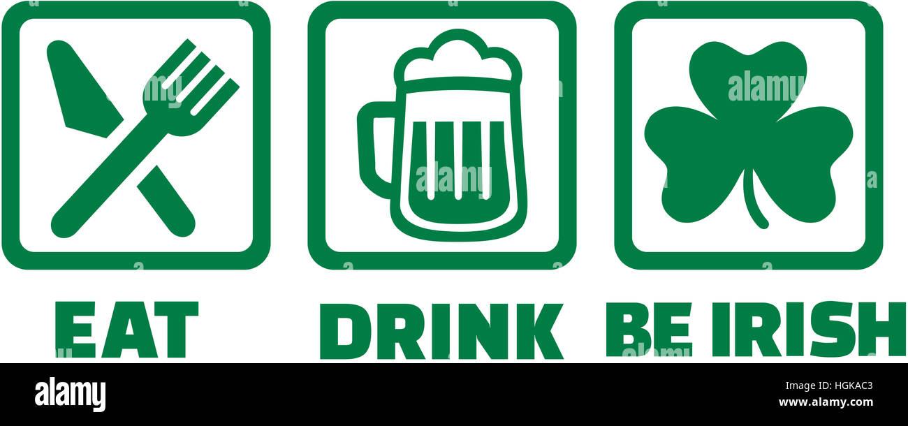Essen trinken und sein Irisch - Icons mit Kleeblatt Stockbild