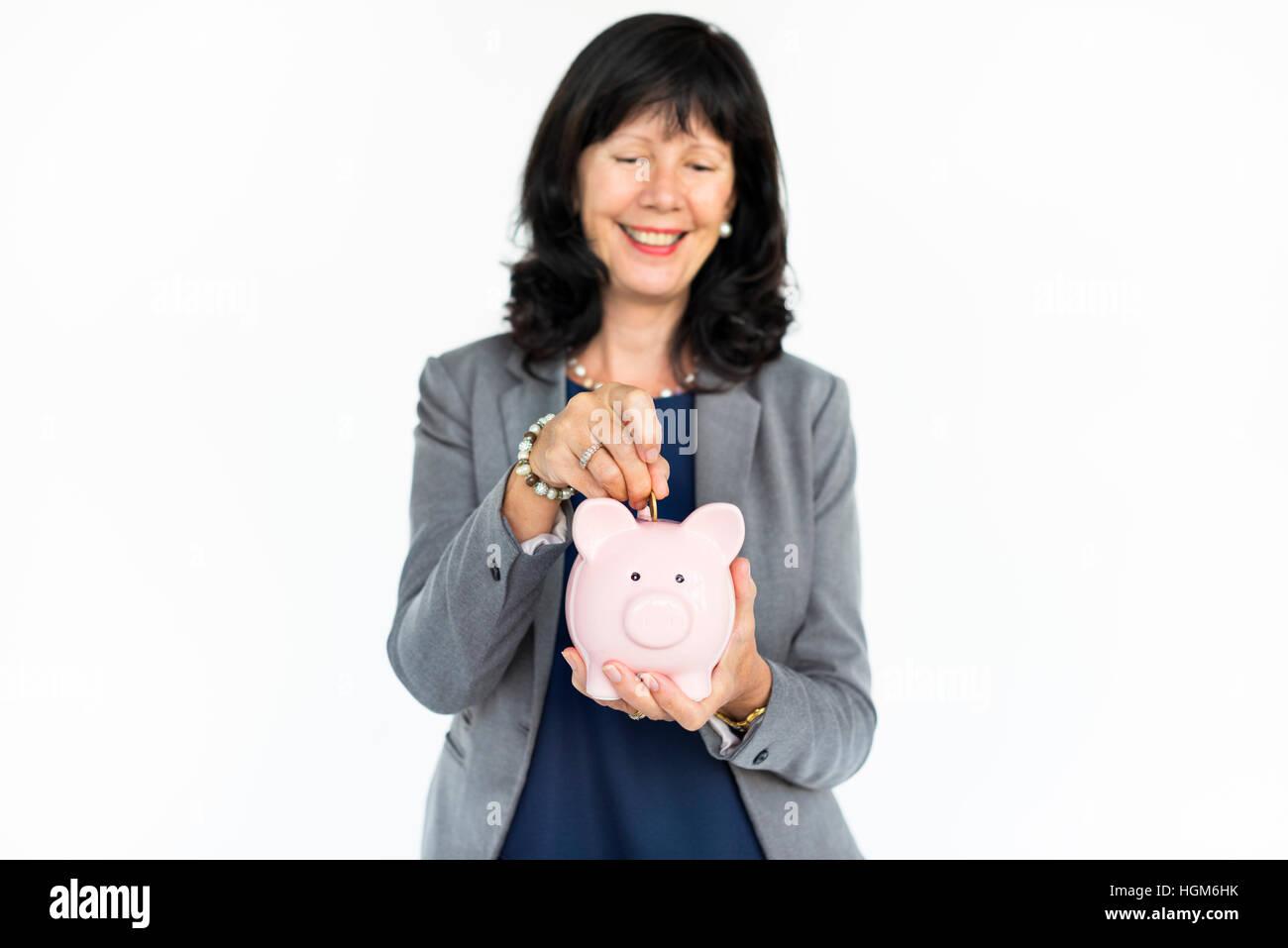 Piggy Bank Geld sparen Finance Concept Stockbild