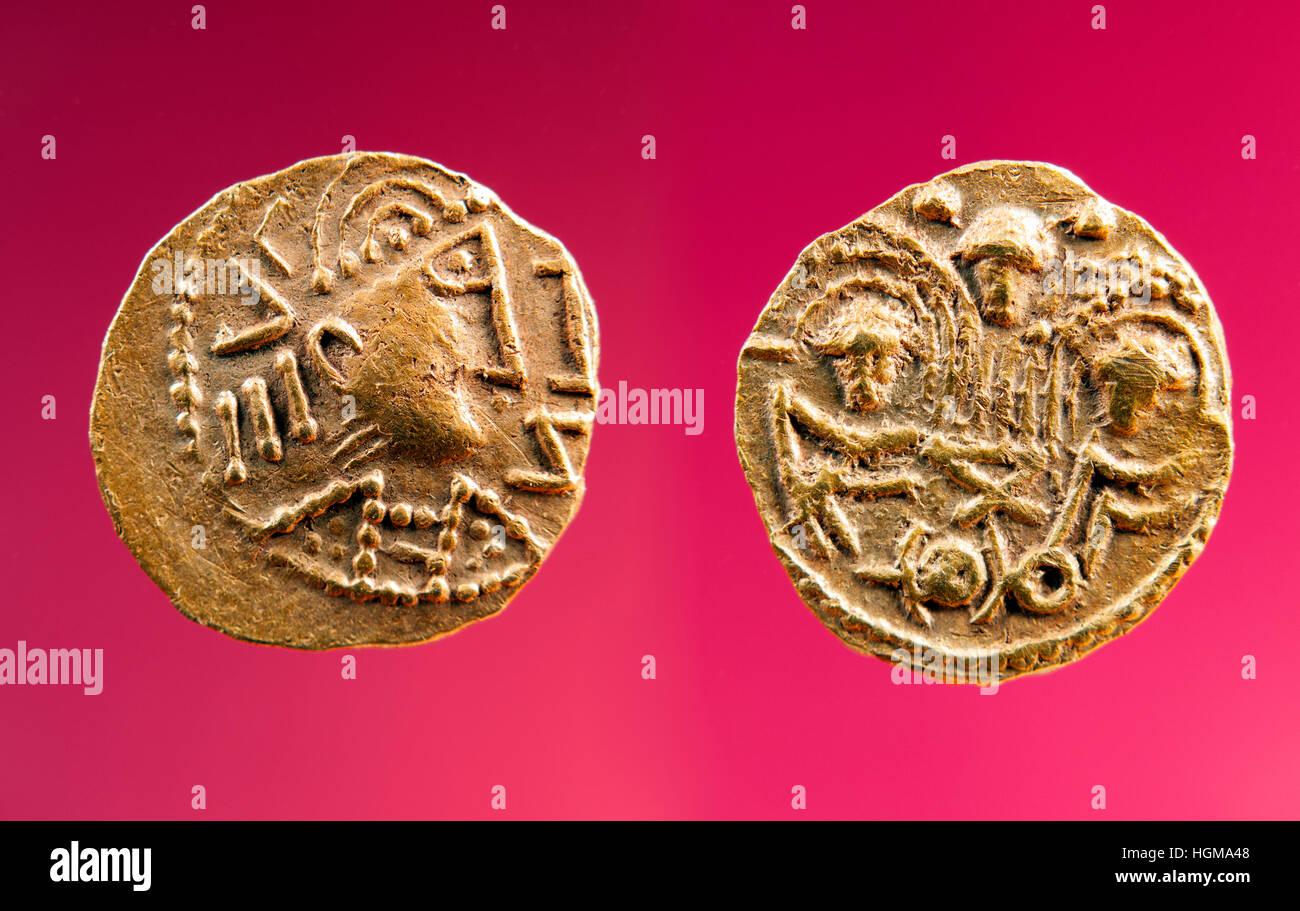 Goldmünze. 767. gold angelsächsischen Thrymsa, zwei Kaiser Typ. Stockbild