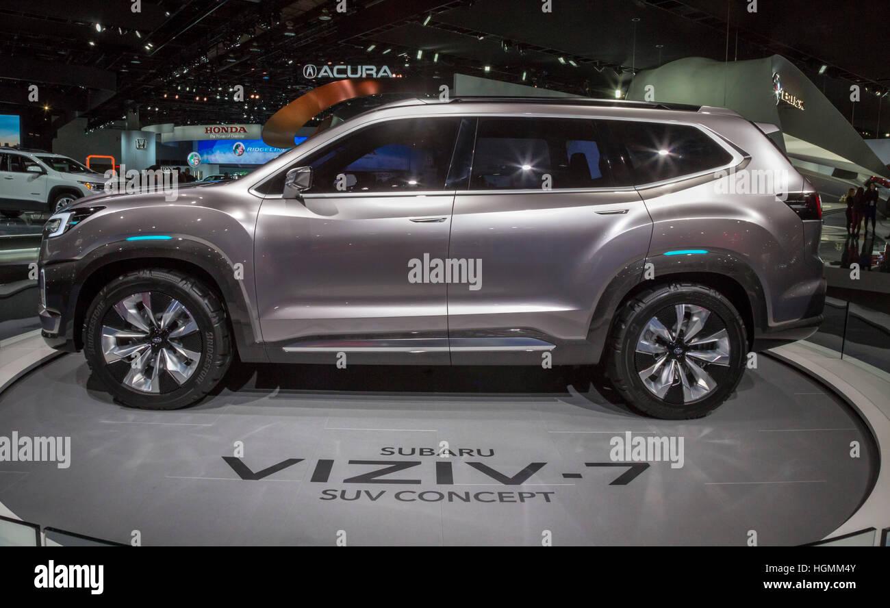 Detroit, Michigan/USA - 10. Januar 2017 - The Subaru-Viziv-7 Konzept SUV auf dem Display auf der North American Stockbild