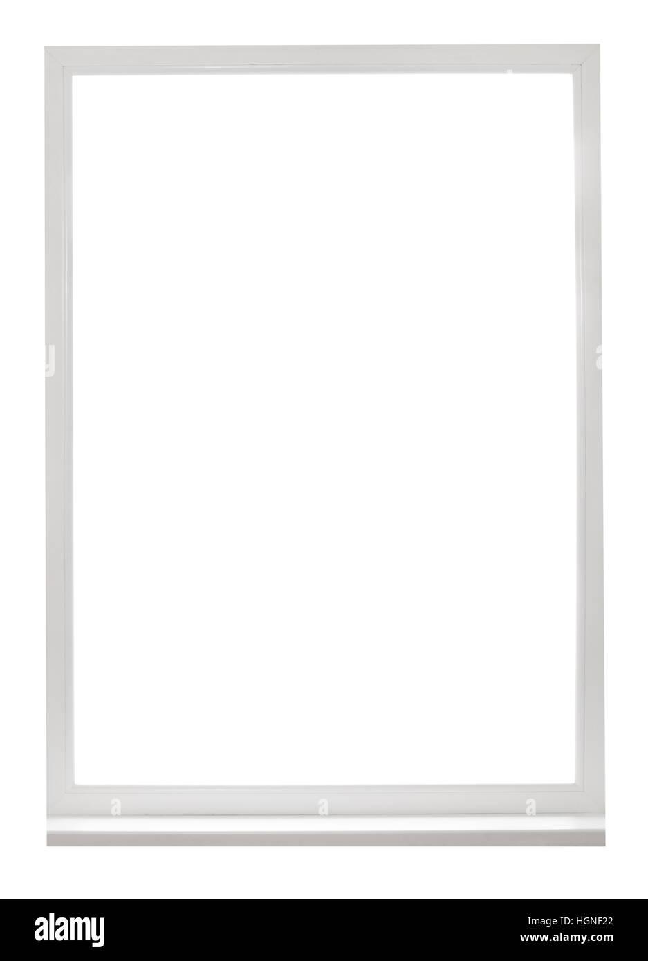 Rahmen der weiße Kunststoff-Fenster isoliert auf weißem Hintergrund ...