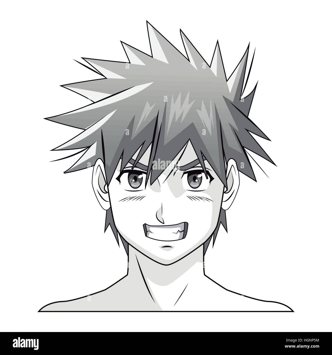 Gesicht Junge Anime Manga Comic Figur Vektor Abbildung