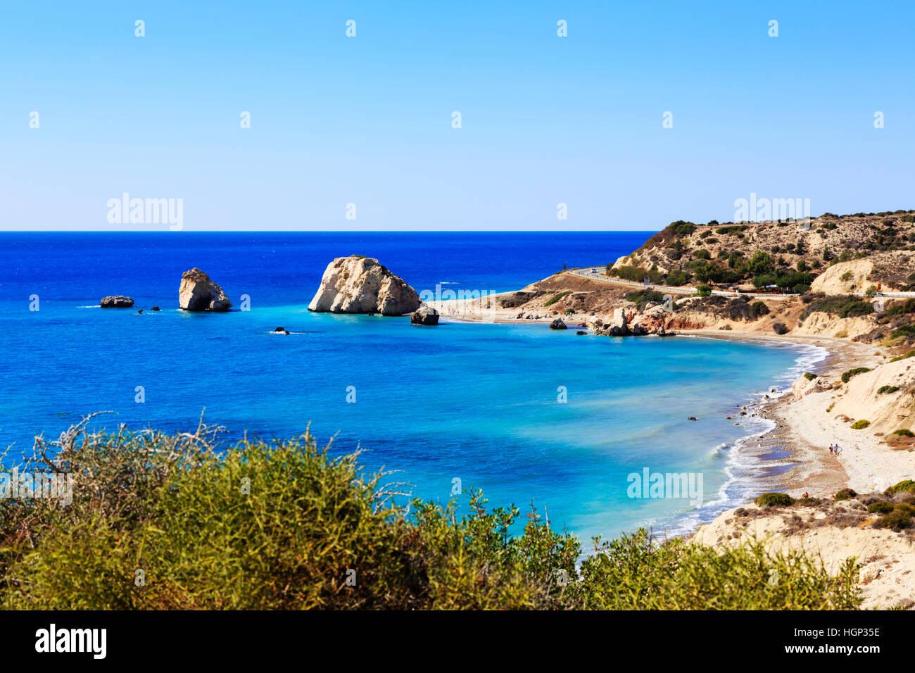 Aphrodite Felsen Petra Tou Romiou, in der Nähe von Paphos, Zypern. Stockbild