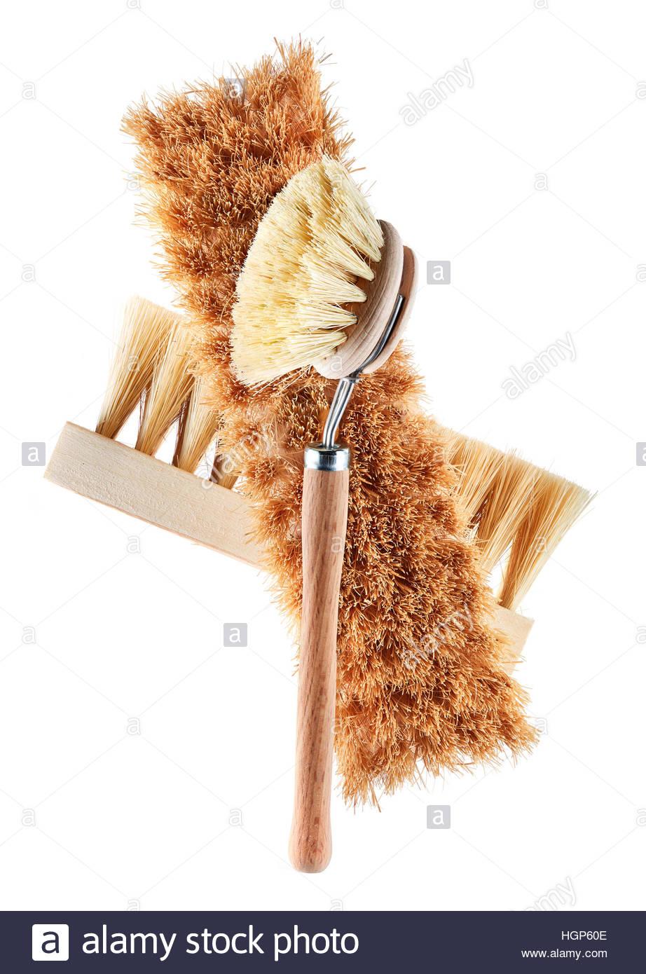Haus Reinigung, Frühjahrsputz, Gruppe der Hand scrub Bürsten oder Handfeger Reinigungsgeräte auf Stockbild