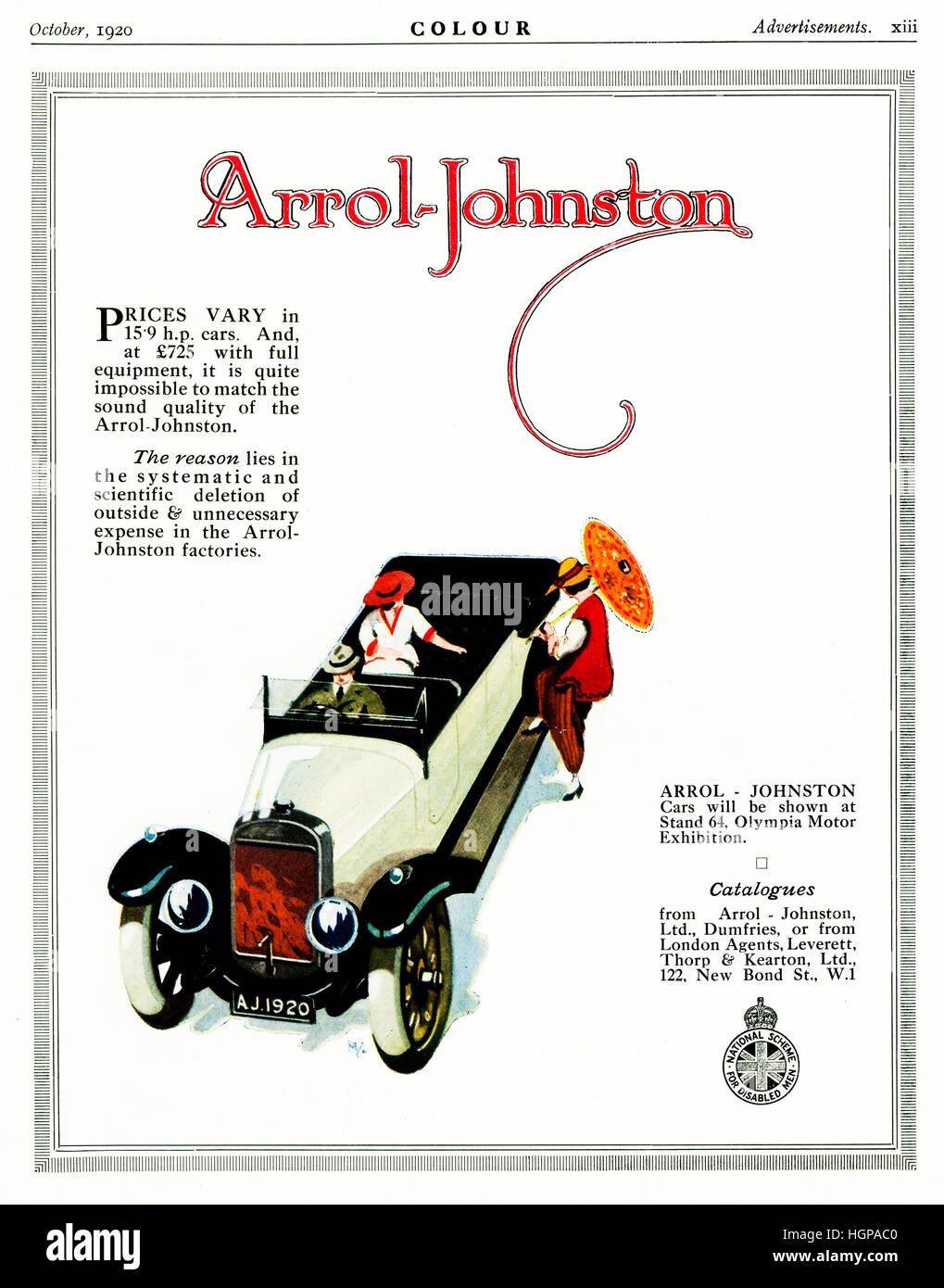 Arrol-Johnston Autos, 1920 Werbung für Autos hergestellt in Schottland durch das 1896 gegründete Unternehmen Stockbild