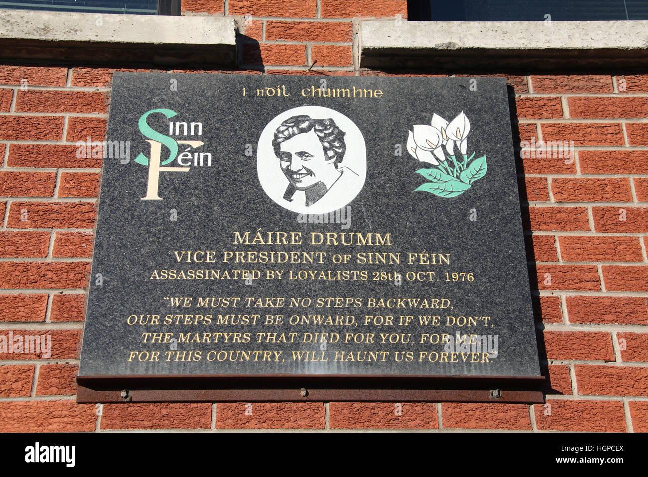 Maire Drumm Memorial an der Falls Road Sinn Fein Büro Stockbild
