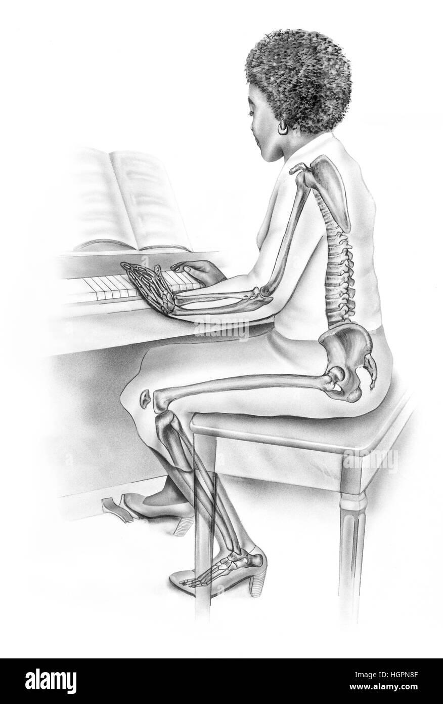 Frauen Anatomie im Alltag - Skelett-Struktur der Frau spielt Klavier ...