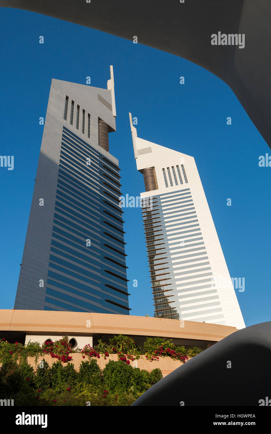 Emirates Towers, Dubai, Vereinigte Arabische Emirate Stockbild