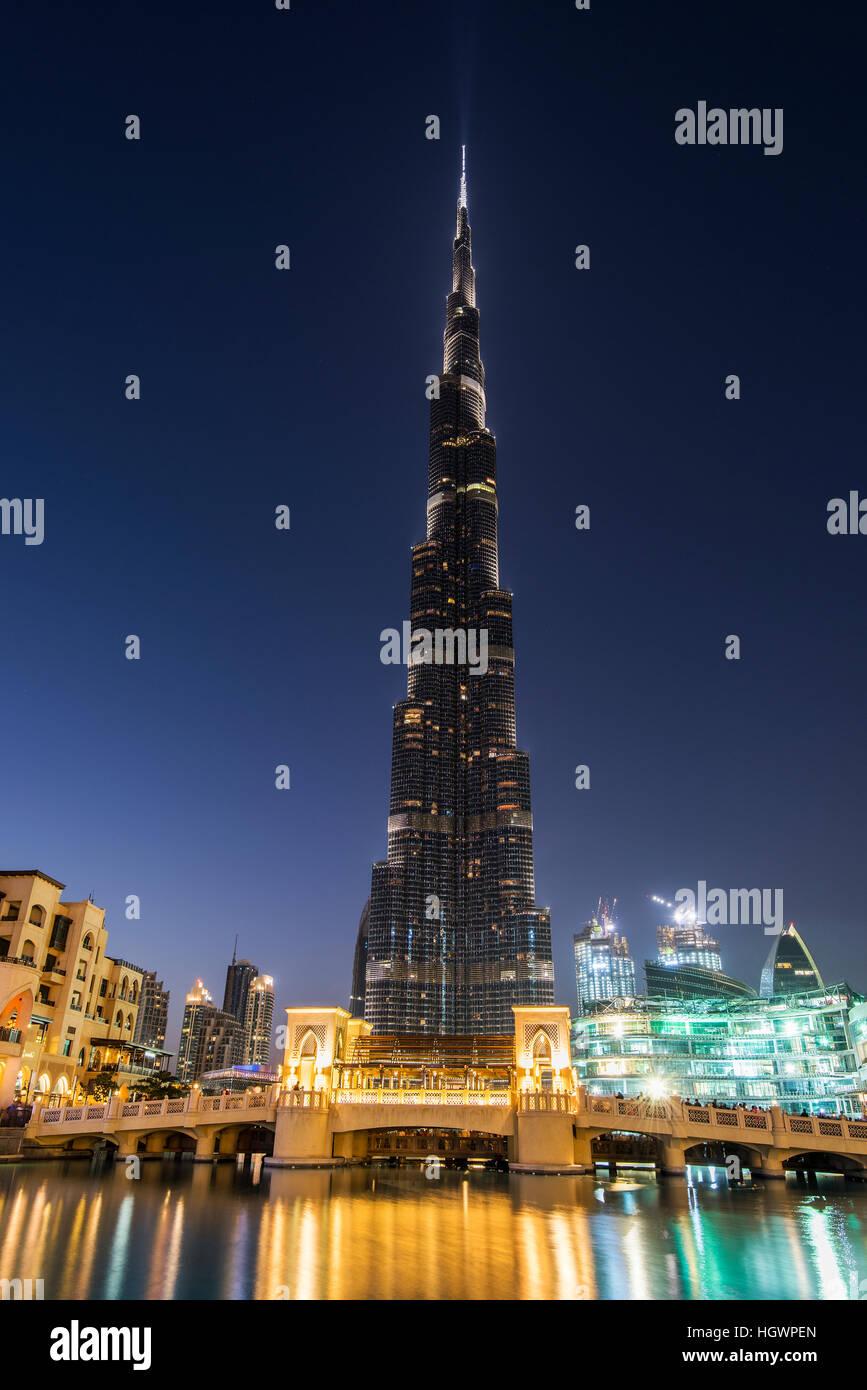 Nachtansicht des Burj Khalifa, Dubai, Vereinigte Arabische Emirate Stockbild