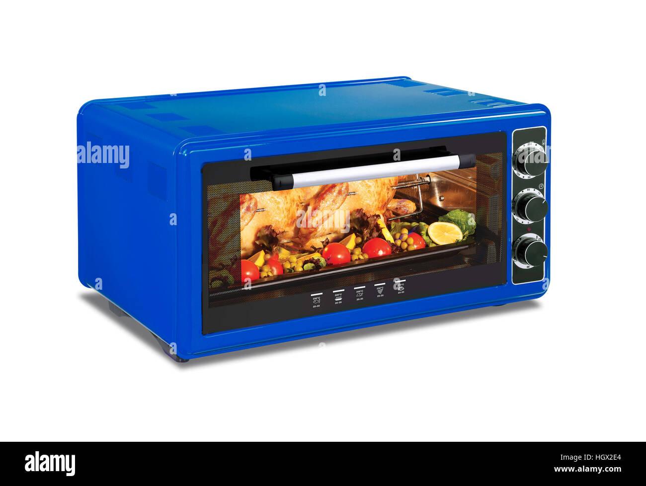 Blaue Mikrowelle Auf Weißem Hintergrund Stockfoto Bild 130879788