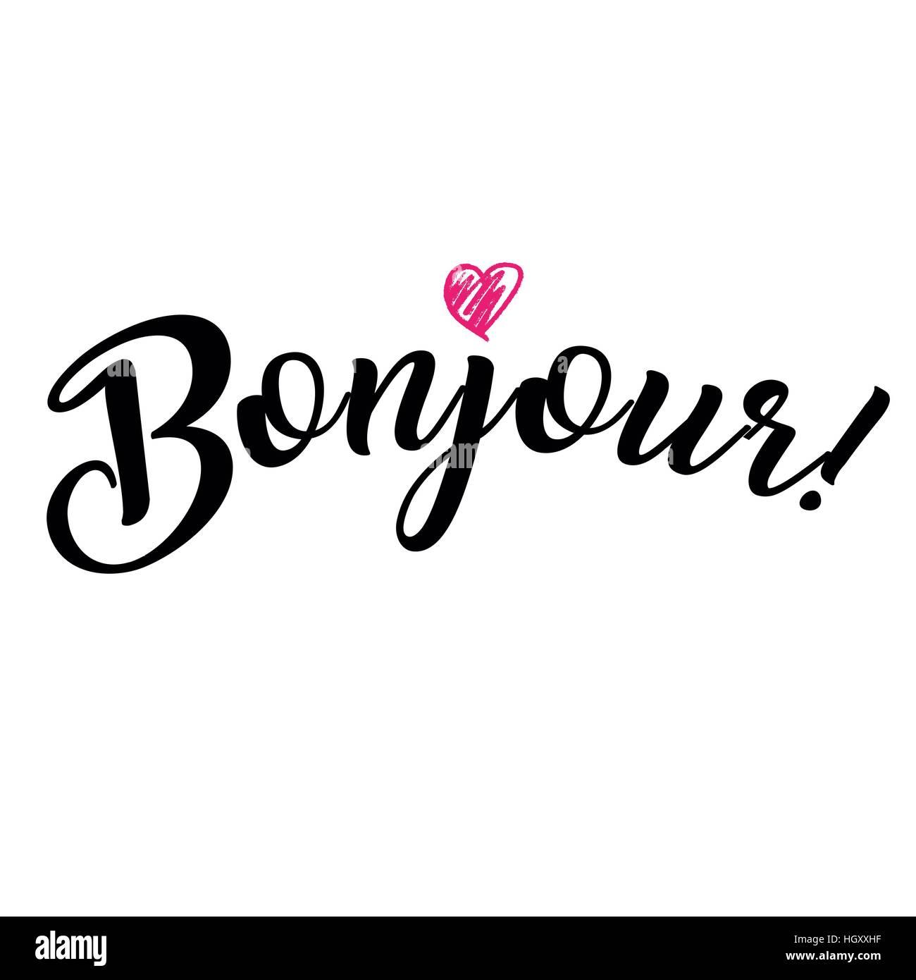 wort hallo auf franz sisch bonjour modische kalligraphie vektor illustration auf wei em On hallo auf französisch
