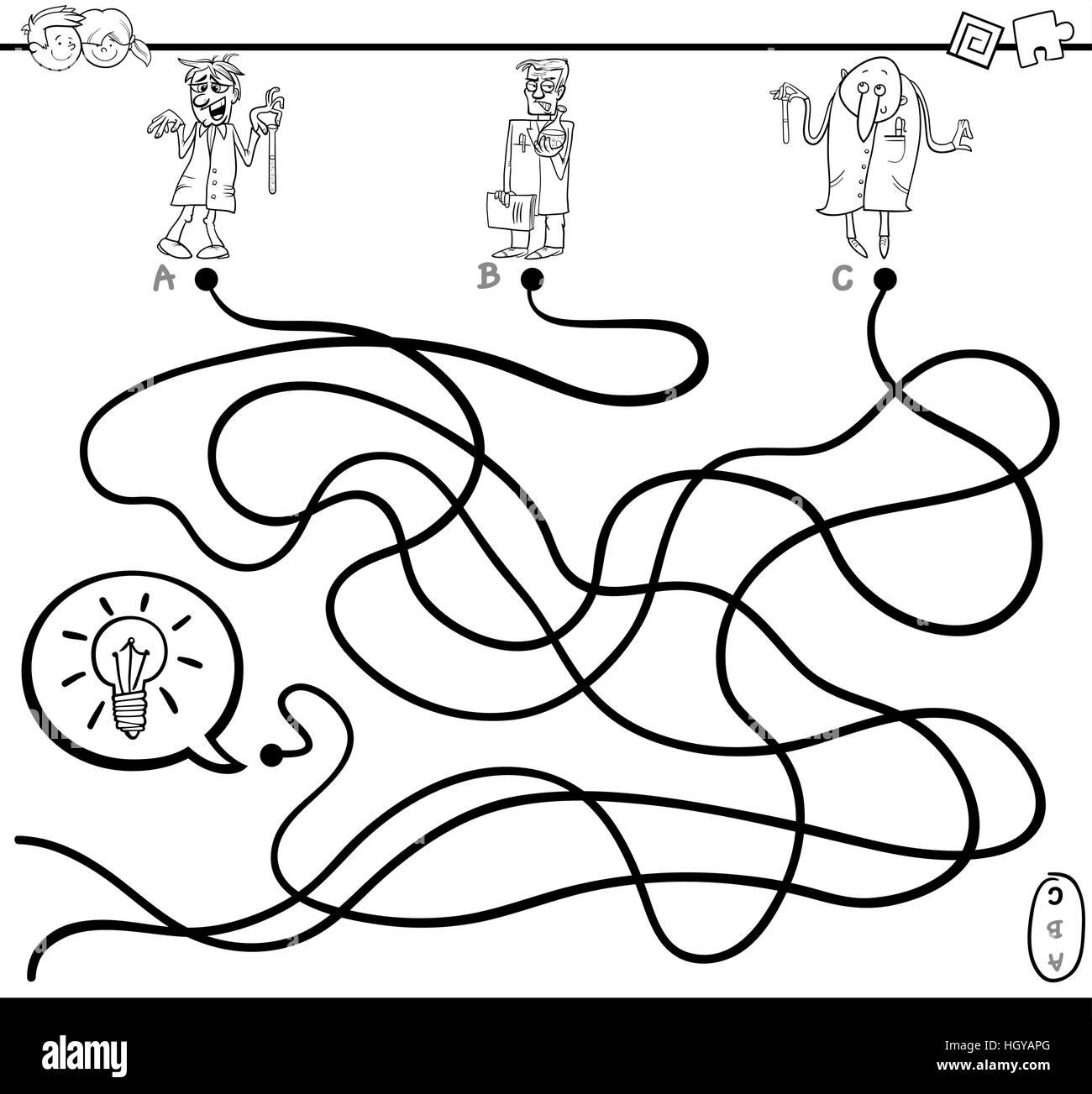Schwarz / Weiß Cartoon Illustration Pfade oder Labyrinth Aktivität ...