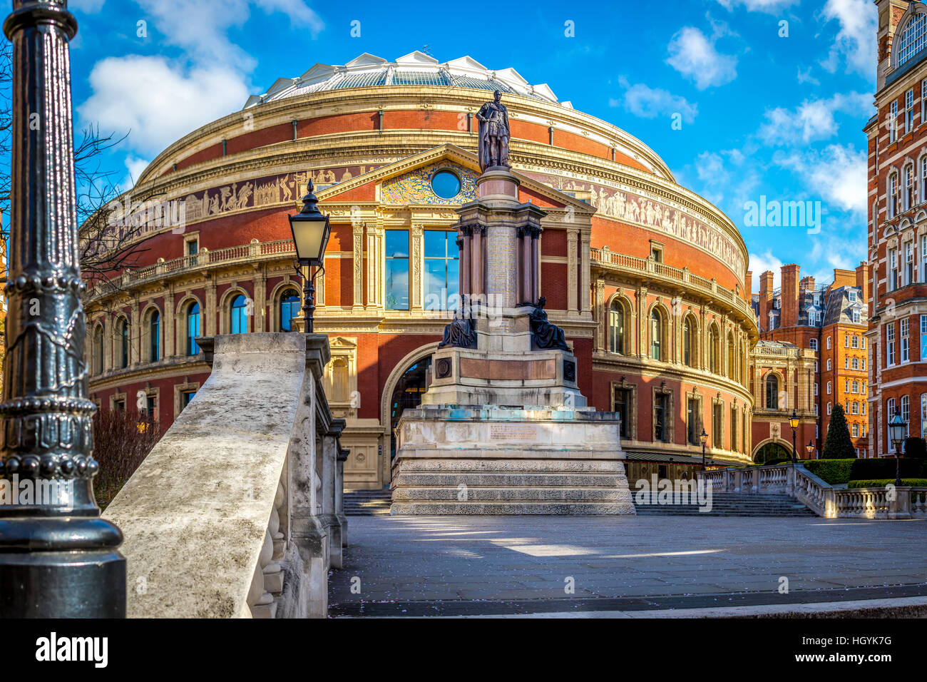 Die Royal Albert Halleneingang in South Kensington, London, UK Stockbild