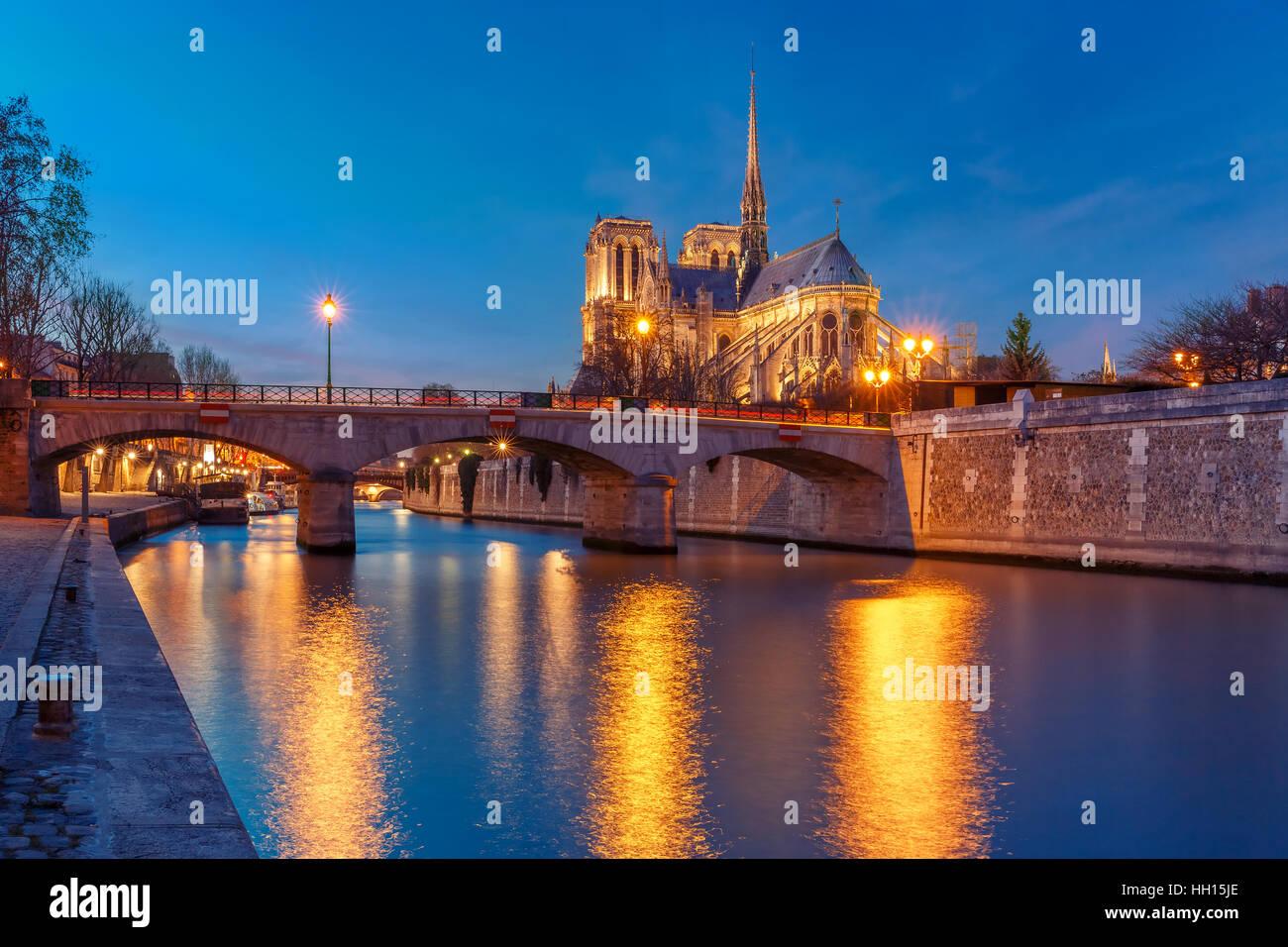 Kathedrale von Notre Dame de Paris bei Nacht, Frankreich Stockfoto