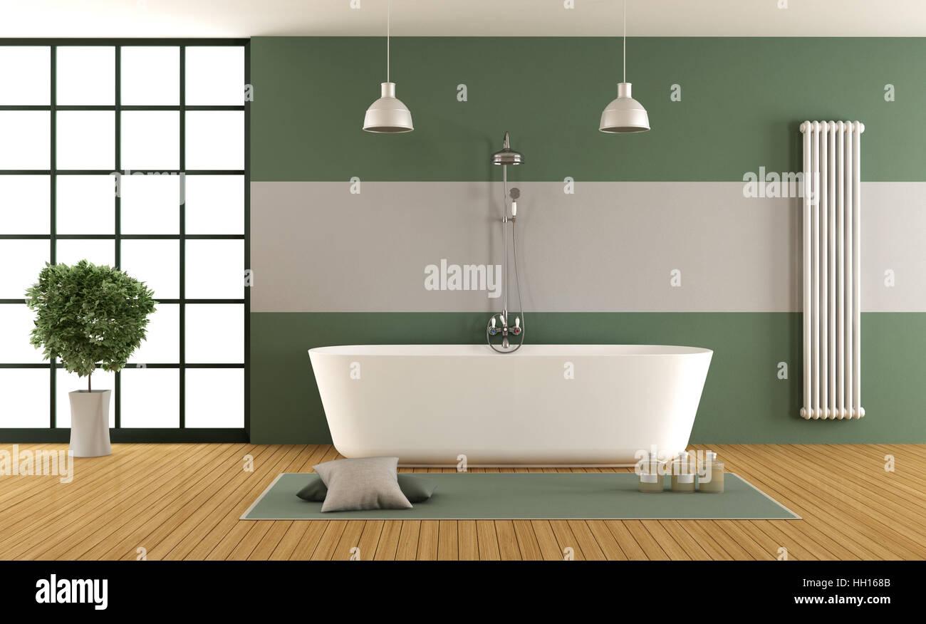 Zeitgenössische Grün Und Grau Badezimmer Mit Badewanne, Dusche Und Fenster    3d Rendering