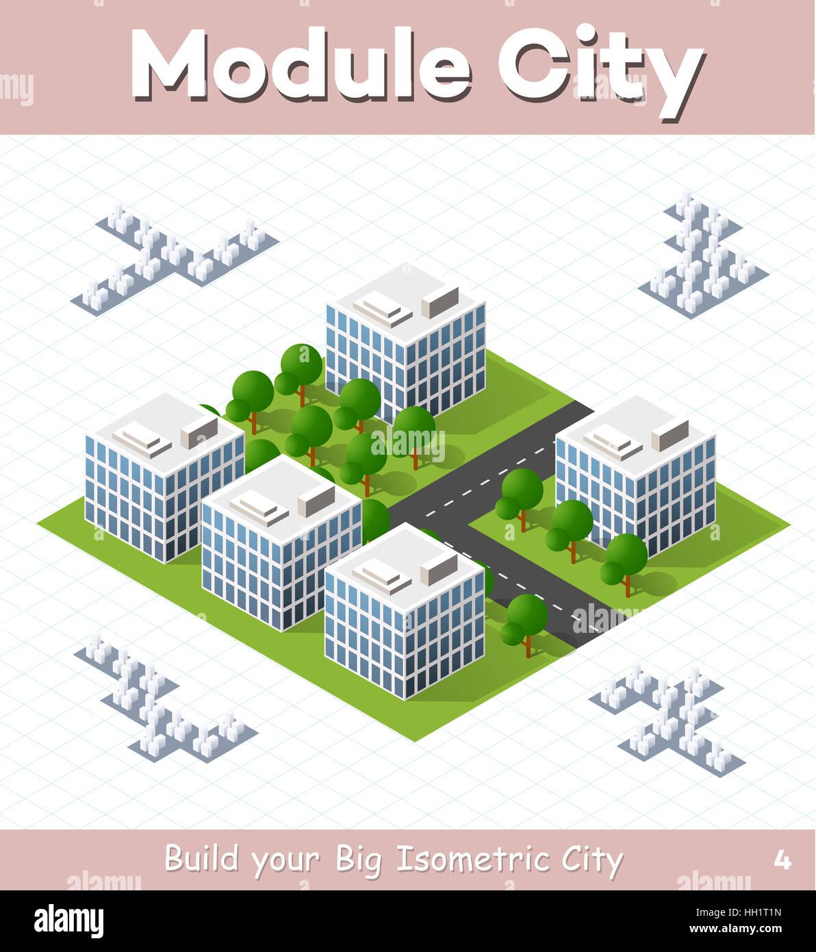 Urban-Modul für den Bau und die Gestaltung der isometrischen ...