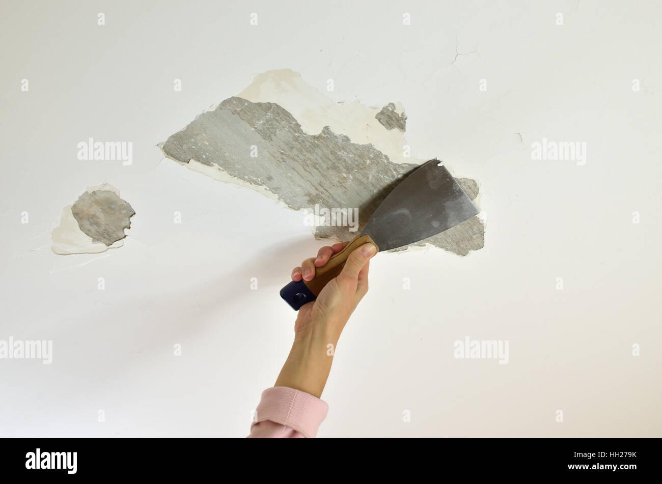 Hand Mit Einem Gips Spatel, Schaben Eine Decke, Bereitet Sie Für Die  Renovierung