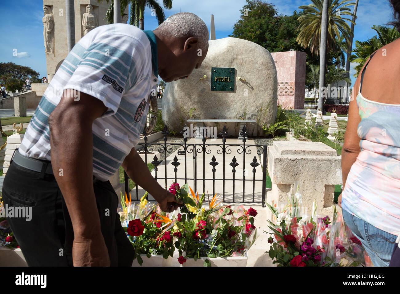 Fidel Castro' s Grab in Santa Ifigenia Friedhof, Santiago de Cuba Stockbild