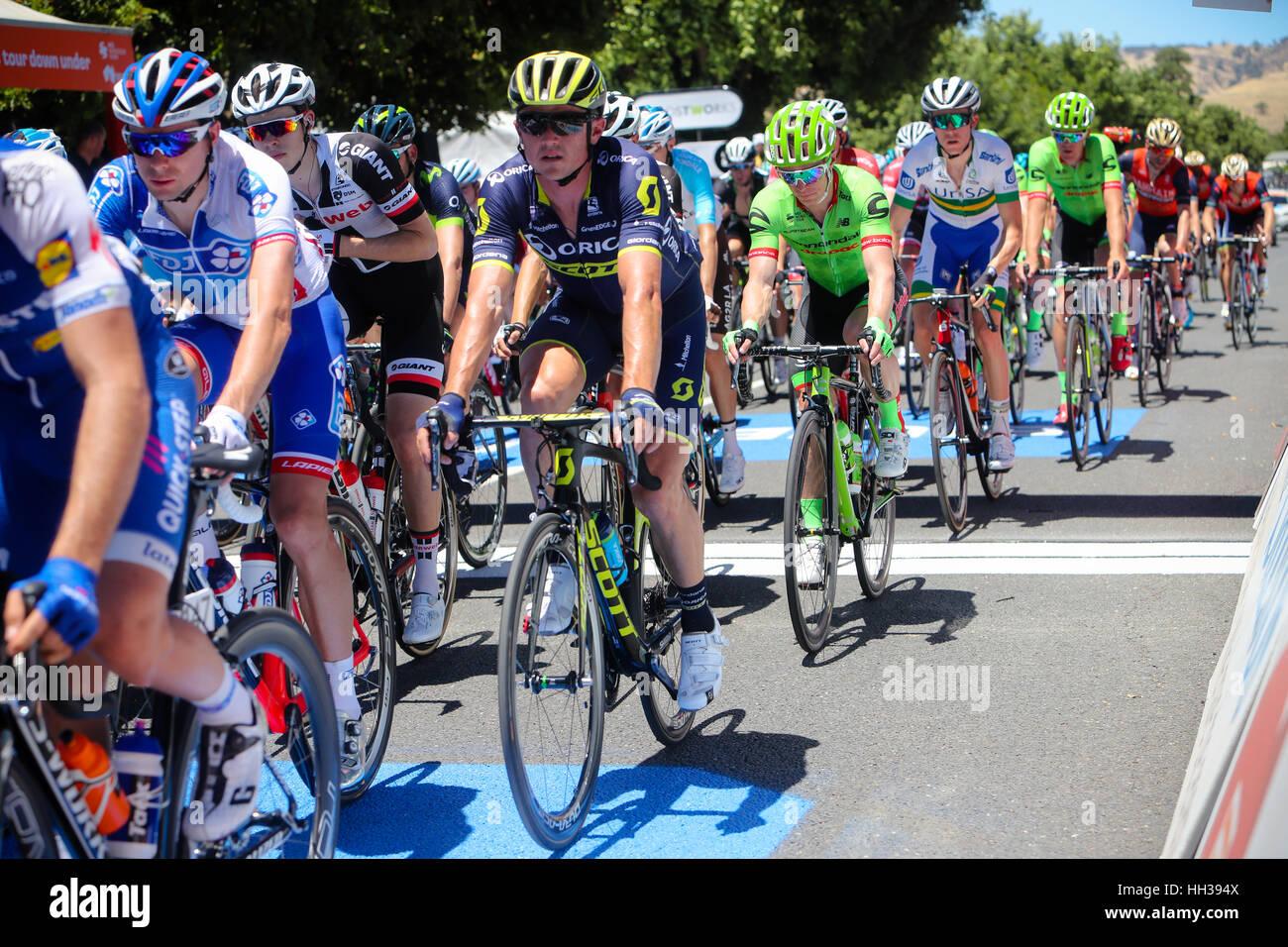 Adelaide, Australien. 17. Januar 2017.  Hostworks Stufe 1 Unley in Lyndoch, Santos Tour Down Under. Simon Gerrans Stockfoto