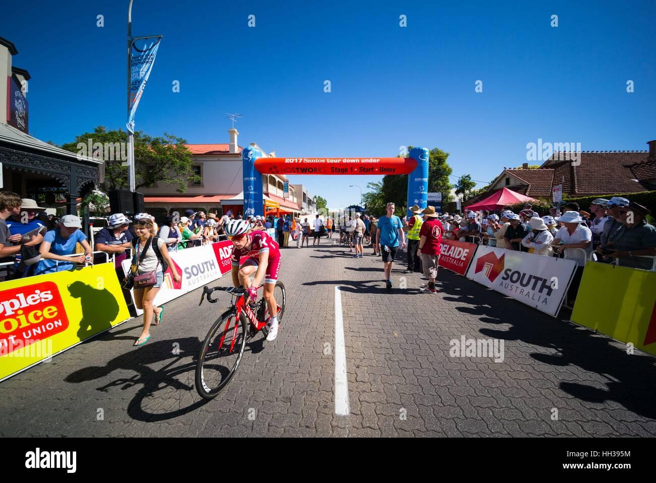 Adelaide, South Australia, Australien. 17. Januar 2016. Startlinie, 1 Etappe der Tour Down Under, Australien am Stockfoto
