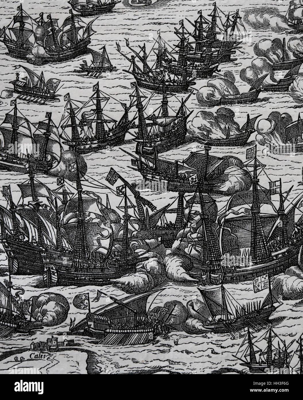 Spanische Armada. Spanische Flotte von 130 Schiffen mit dem Ziel erobert England. Kopie eines Originals F. Hogenbergs Stockbild